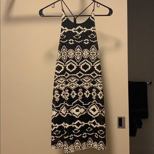 black and white woven dress
